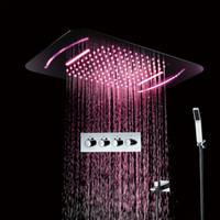 580 * 380mm Banyo LED şerit Dikdörtgen Yağmur Şelale Duş başlığı Termostatik Bataryası Karıştırıcı Gömülü Tavan Mounte Cilalı