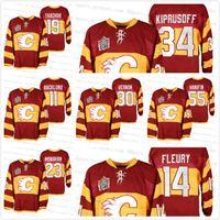 Özel Calgary Flames Miras Klasik 2011 Isınma Kırmızı Jersey 14 Theoren Fleury 23 Sean Monahan Nuh Hanifin Mike Vernon 11 Backlund
