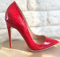 2019 Mode Crocodile Rouge Patten Pointu Marque À Talons Hauts Rouge Bas Shallow Robe De Mariée Chaussures Pierre-rayé Partie Femme Taille 33