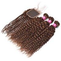 Brasileiro Virgin Humano Pacotes Cabelo castanho Kinky Curly Hair Extensions 3 Pacotes com laço frontal Encerramento #Brown cabelo tramas Tramas