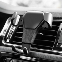 Leather Car cell phone stand Holder For Car Air Vent Clip Mo...