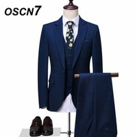 OSCN7 Navy Blue Tailor Made Suit Men 3 Piece Fashion Wedding...
