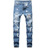 Европейский американский стиль джинсы роскошь мужчин прямые брюки джинсовые молнии пэчворк Тонкий синий отверстие джинсы для мужчин