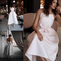 차 길이 새틴 라 보헤미안 웨딩 드레스 2019 한 스트랩 비치 신부 드레스 드레스 Novia 웨딩 드레스 지퍼를 다시