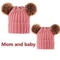 Симпатичные родитель-ребенок вязаный шляпа зима теплая мама младенца шансы лыжная крышка головы капюшон для женщин девочек девочки с волосами шариковые шапки HH9-2418