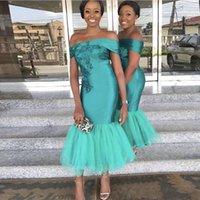 Turquoise 인어 들러리 드레스 어깨 들러리 드레스 발목 길이 결혼식 튤 짧은 공식적인 파티 드레스