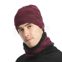 Invierno tejer sombrero bufanda Conjunto Hombres color sólido caliente del casquillo masculino bufandas de invierno al aire libre Accesorios Sombreros Bufanda 2 Piezas LJJM2367