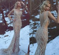 2020 de lujo personalizado vestidos de noche de alta calidad hecha a mano de las lentejuelas con cuello en V Ilusión Rhinestone sin espalda vestido de fiesta de la sirena