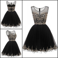 Knee Length Tulle Prom Dresses Short Gold Lace Applique Crys...