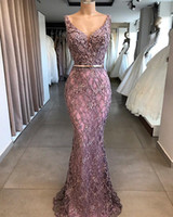 Long Mermaid Prom Dresses 2020 V Neck Lace Appliques Beads A...