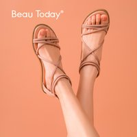 BeauToday Mulheres Praia Sandals Kid Suede Leather Voltar Zipper Cross-Amarrado Gladiator Apricot Summer Ladies Flats Handmade 3300863