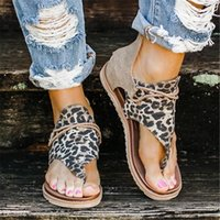 KAMUCC 2020 Sandálias Mulheres leopardo Verão Sapatos mulheres de grande porte Ândalos Women Flat Sandals Womens Verão Sandálias Y200620