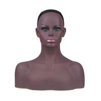 Vendita calda femmina realistica in PVC nero manichino testa busto vendita per parrucca gioielli e cappello display
