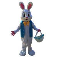 Dia das bruxas coelhinho da páscoa traje da mascote dos desenhos animados de alta qualidade azul colete coelho anime caráter personagem carnaval de natal fantasia trajes