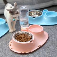 Pet Paslanmaz çelik Besleme kase Konteyner kapalı köpekler kediler gereçleri Otomatik su sebili Bowl + Şişe + Paslanmaz çelik kase 0130 Çanaklar