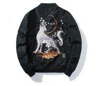 Осень Мужчины Ма-1 Бомбардировщик Harajuku Волк Вышивка Мода Уличная Одежда Повседневная Бейсбол Куртки Пальто