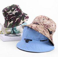 Cuenca de los hombres sombrero de primavera y el verano nueva damas sólidos de color camuflaje del sombrero del sol pesca ocio al aire libre de la protección solar sombrero de pescador WY259