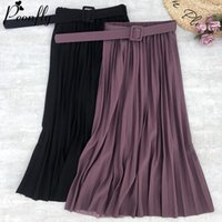 PEONFLY New Women Fashion Belt Solid Color Pleated Midi Skir...