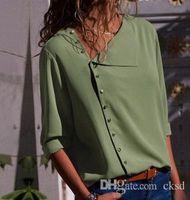 2018 The New camiseta de otoño venta caliente de moda botón de 7 colores irregular cuello oblicuo camisa de manga larga blusa WGNVTX24
