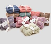 12 цветов 2pcs Полотенца из микрофибры ткань Полотенца Комплекта плюшевых ванн для лица полотенца для рук Quick Dry Полотенце для взрослых детей ванн сверхпоглощающему