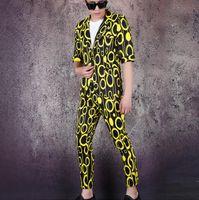 Herrenanzüge Blazer Blazer Männer Anzug Set mit Hosen Herren Kurzarm Sänger Bühnenkleidung Rundschreiben Formelle Kleid Frühling Sommer B617