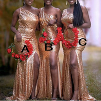 Rose Gold Sequins Bridesmaid Dresses Mixed Order Custom Made Wedding Party Guest Gown Olika Neckline Junior Maid of Honor Dress Cheap