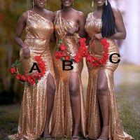 Sipariş Custom Made Düğün Misafir Önlük farklı Yaka Genç Hizmetçi Onur Elbise Ucuz Karışık Rose Gold Pullarda Gelinlik Modelleri