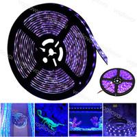 Luces de tira UV impermeable 5m / rollo 60 LED / M 5050SMD 60W Lámpara ultravioleta púrpura luz DC12V Iluminación de vacaciones flexible para al aire libre Etapa de interior DHL