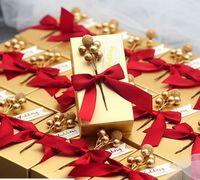 Золотая свадебная коробка конфет творческий груша цветок свадьба сладкий подарок мешок изысканный коробка конфет с лентами партии прямоугольные конфеты бумажная коробка