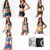 2020 Nouveau design Maillot Patchwork Cartoon Shark imprimé Maillots de bain Push Up Bra réservoir Gilet Short de bain de femmes bikini ensemble D51903