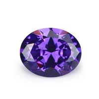 Haute qualité en gros 100pcs / sac violet bleuâtre 8 * 10 mm Ovale Facettes Cut Forme 5A VVS en vrac cubique Livraison gratuite zircone