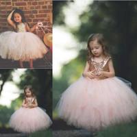 Paillettes oro rosa vestiti delle ragazze del fiore Cute Baby Infant Toddler Battesimo vestiti con Tutu Tulle Abiti di sfera Festa di compleanno a buon mercato Carino