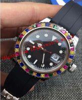 최고의 편리한 6 스타일 럭셔리 시계 레인보우 다이아몬드 18K 로즈 골드 실버 116695SATS 새로운 고무 스트랩 자동 패션 망 시계 손목 시계