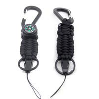 Camping Sport all'aperto Tenere il keychain di paracord di colore camuffamento navy sicuro con bussola