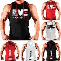 Hirigin 2019 Date Casual Hommes À Capuche Gilet Muscle Stringer Bodybuilding Gym Débardeurs Sans Manches À Capuche T-Shirt Coton Vêtements