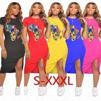 Katı Renk Kadınlar Yaz Elbise Tasarımcı Harita Patter Bölünmüş Elbiseler Seksi BODYCON Elbiseler Pileli Günlük Spor Kısa Kollu Elbise D7108