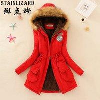 STAINLIZARD Modası Kadın Kış Ceket Rahat Pamuk Kırmızı Kapşonlu Parkas Uzun Kalın Bayanlar Kadın Giyim Sıcak Kadın Ceket CJT142