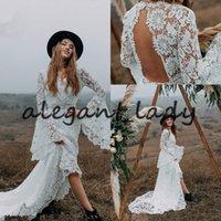 Французский Макраме Кружева Свадебные платья с длинными рукавами Белл 2021 V-образным вырезом Backless Bohemain Страна Бич Хиппи платье невесты
