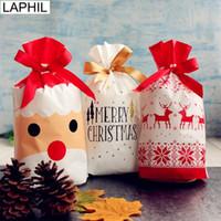 LAPHIL 12p جيم عيد ميلاد سعيد حقائب هدية بابا نويل شجرة عيد الميلاد أكياس التعبئة والتغليف سنة جديدة سعيدة 2019 حلوى عيد الميلاد حقائب نيفيداد