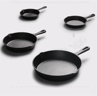 Gusseisen Antihaft-14-26cm Skillet Frying Pan Flach Gas Cooker Eisentopf Ei Pfannkuchen Pot Küche Speise Werkzeuge Kochgeschirr