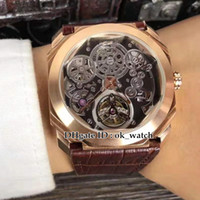 linea Strap orologi Gents nuova Octo Finissimo Tourbillon 102.719 scheletro automatico Mens Watch cassa in oro rosa nero in pelle marrone di alta qualità
