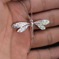 Encantos de moda 925 esterlina prata cz libélula mulheres pingente colar para pedant clavícula camisola jóias presente