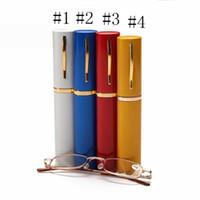 Unisex Okuma Presbiyopik Gözlük ile Rastgele Renk Metal Boru Vaka Cam Erkekler Kadınlar Gözlük Taşınabilir Rahat EEA1041-11