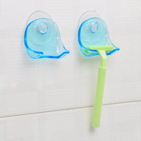 Clear Blue Plastic Super Suction Cup Razor Rack Baño Razor Holder Succión Shaver Almacenamiento Rack Promotion