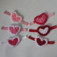 50 adet 9 cm şifon kızlar saç aksesuarları, Sevgililer Günü 4 renkler için şifon kalp baş bantlarında rozet kalp çiçek