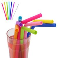 파티 빨대 부엌 마시는 재사용 가능한 실리콘 빨대 식품 학년 실리콘 빨 BPA 무료 DLH222 가제트