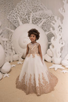 2019 Cute Gold Appliques Flower Girl Dresses 2019 Kids Toddl...