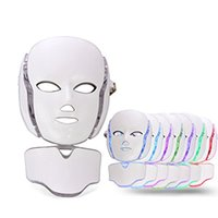 7 اللون PDT ضوء العلاج وجه آلة الجمال LED الوجه قناع الرقبة مع مكركرنت للبشرة جهاز تبييض الشحن مجانا