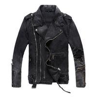 Uplzcoo Yeni Moda Biker Denim ceketler Erkekler Black Hole Fermuarlar Denim Ceket Ceket Casual Erkek Giyim Casaco Masculino EM157 V191128