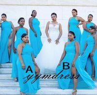 Turquesa da dama de honra Vestidos africanos 2019 Maid Of The Bride Evening vestidos formais ocasião desgaste Plus Size Dividir chiffon renda ordens mistas